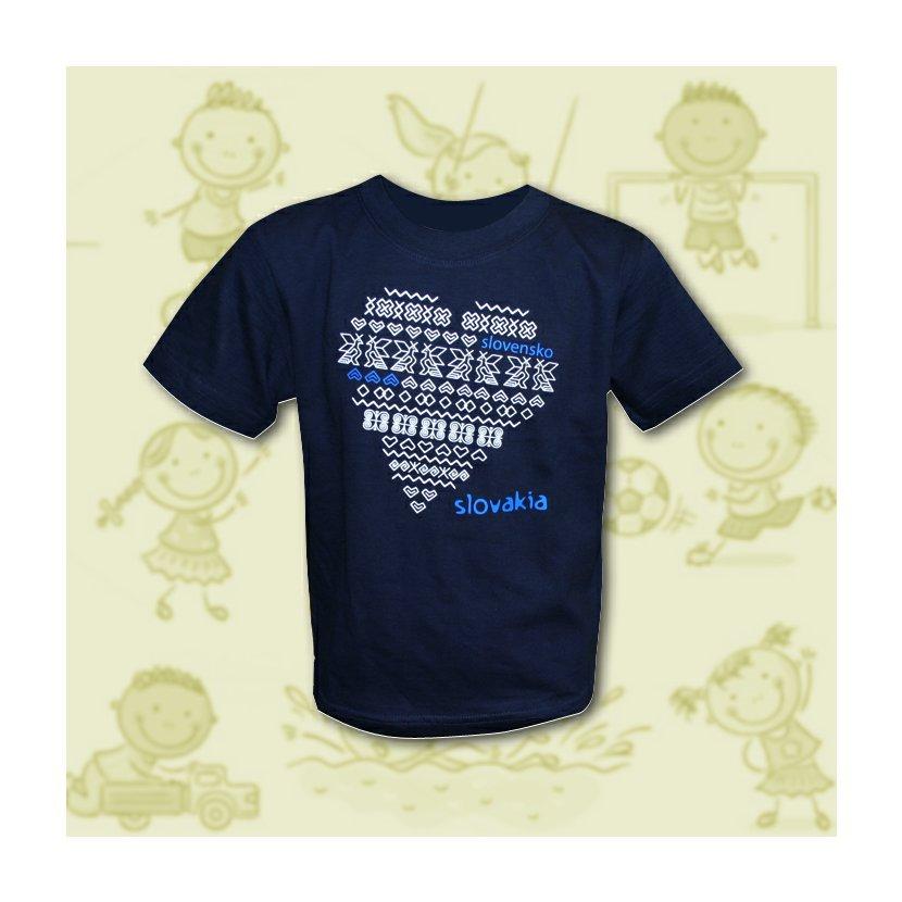 24fe1330e74eb Detské tričko čičmany srdce navy -158 XL (11-12)